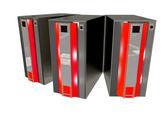 Trzy nowoczesne serwera — Zdjęcie stockowe