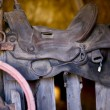 Saddle in Barn — Stock Photo