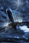 Airplane Lightning Strike — Stock Photo