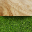 Grass and Wood Board - Stock Photo