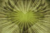 Corazón vintage floral verde — Foto de Stock