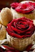Roses in Wattle Baskets — Stock Photo
