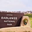 sinal do Parque Nacional de Badlands — Foto Stock