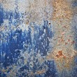 Foto de Stock  : Blue Paint Corroded Metal