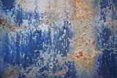Blauwe verf gecorrodeerde metal — Stockfoto