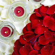 Candles on Roses — Stock Photo
