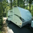 Travel Trailer in RV Park — Stock Photo