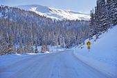 Winter weg in colorado — Stockfoto