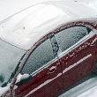 First Snow on Car — Stock Photo
