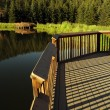 Scenic Lake Wood Deck — Stock Photo