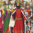 Medieval King and Retinue — Stock Photo