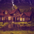 Log Home on the Lake — Stock Photo
