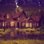 Log Home on the Lake — Stock Photo #42577825