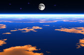 The moon above the earth — Stock Photo