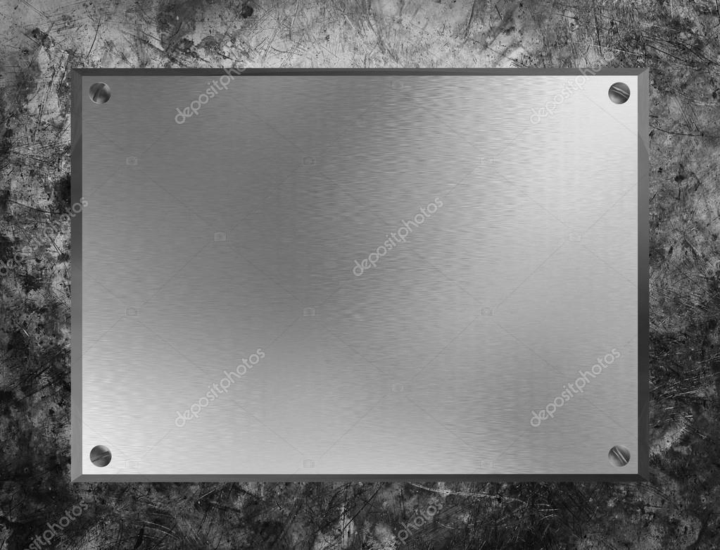 The metal plate on grunge metal background  Stock Photo #18814931