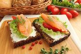 Fresh salmon sandwiches — Stock Photo