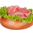 Fresh raw pork meat and salad isolated on white background — Stock Photo #35062363