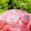 Fresh raw pork meat and salad — Stock Photo