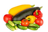 Zucchini courgette, sweet pepper and tomatoes isolated on white background — Stockfoto