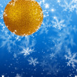 Merry Christmas and Happy New Year background with yellow Christmas balls — Stock Photo