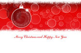 Merry Christmas and Happy New Year red background with Christmas balls — Stock Photo