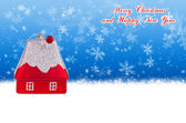 Merry Christmas and Happy New Year blue background with Christmas toy in the form of a small house — Stock Photo