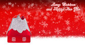 Merry Christmas and Happy New Year red background with Christmas toy in the form of a small house — Stock Photo