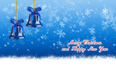 Merry Christmas and Happy New Year blue background with Christmas bells — Stock Photo