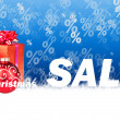 Christmas sale blue background — Stock fotografie