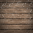 Wooden texture background in snow — Stock Photo