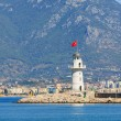 Lighthouse in port of the city of Alania, Turkey — Stock Photo