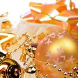 Stock Photo: Christmas background with golden balls and bells