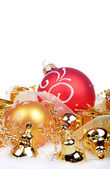Christmas background with balls and bells isolated on the white background — Stockfoto