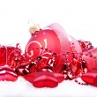 Christmas background with red balls, bells and stars — Stock Photo #36972607