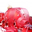 Christmas background with red balls, bells and stars — Stock Photo