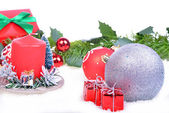 Christmas background with balls and candle — Stock Photo
