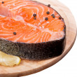 Stock Photo: Fresh raw salmon red fish steak with herbs and spices