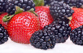 Strawberry and blackberry on the white background — Photo