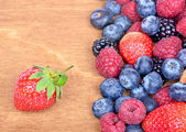 Different fresh berries as background. Top view — Стоковое фото
