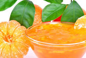 Peeled tangerine and tangerine or orange jam — Стоковое фото