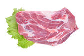Raw pork meat and salad isolated on white background — Stock Photo