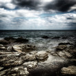 Storm on the sea after a rain with a retro effect — Stock Photo