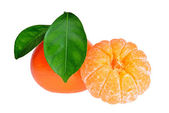Peeled tangerine or mandarin fruit isolated on white background — Photo