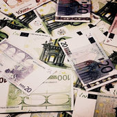 Euro currency banknotes. European money background — Стоковое фото