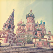 St. Basil Cathedral. Moscow, Russia, Red Square. Vintage retro style — Stock Photo