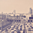 Abstract blur traffic in rush hour. Vintage retro style — Stock Photo #43668555