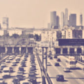 Abstract blur traffic in rush hour. Vintage retro style — Stock Photo