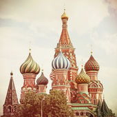 Moscow. Red Square. Saint Basil's Cathedral. Vintage retro style — Stock Photo