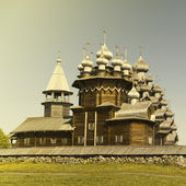 Beautiful Kizhi island on north of Russia. Vintage retro style — Foto Stock