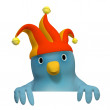 Bluebert with jester&amp;#039;s Cap with an area to fill in your text - Zdjcie stockowe